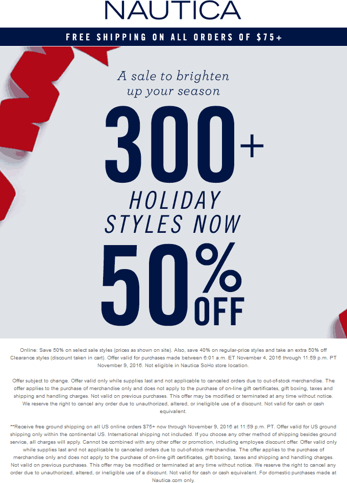 Nautica Coupon October 2018 40-50% off at Nautica, ditto online