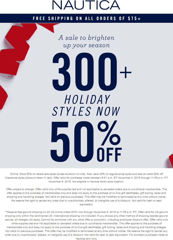 Nautica Coupon December 2018 40-50% off at Nautica, ditto online