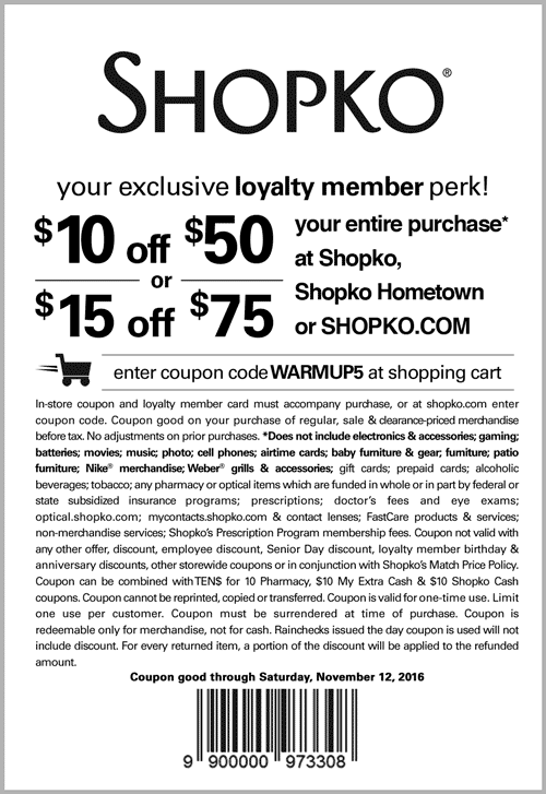 Shopko.com Promo Coupon $10 off $50 & more at Shopko, or online via promo code WARMUP5