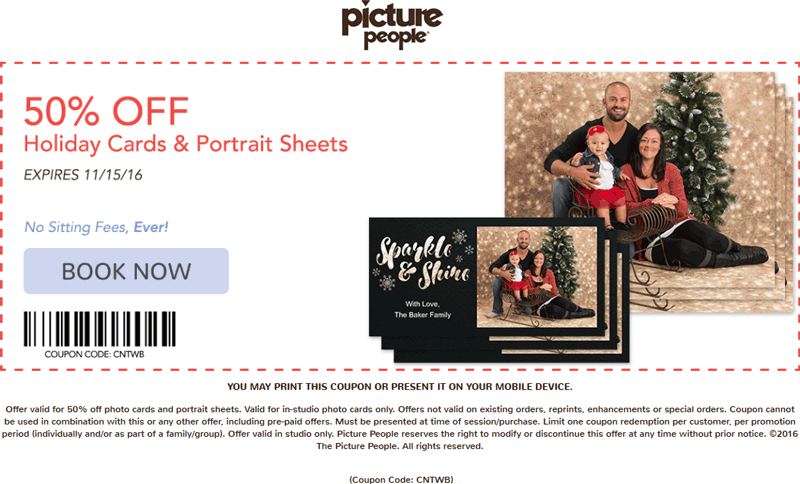 PicturePeople.com Promo Coupon 50% off portrait sheets & holiday cards at Picture People