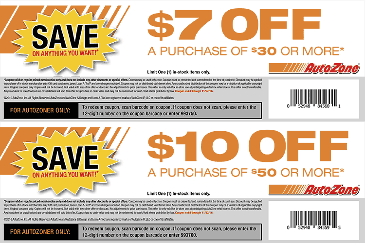 AutoZone.com Promo Coupon $7 off $30 & more at AutoZone