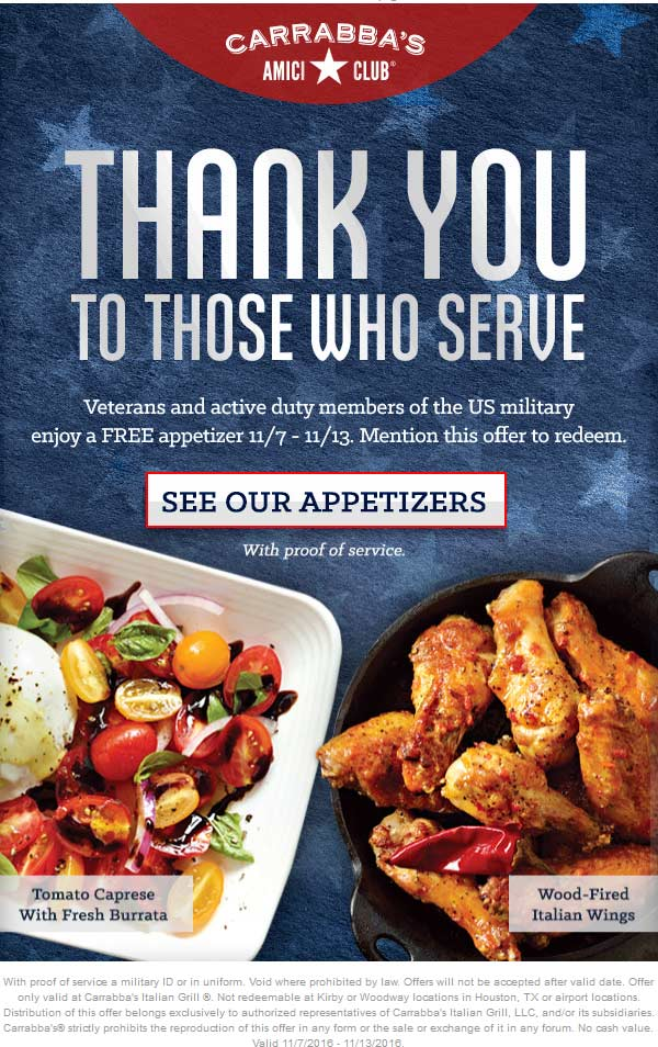 Carrabbas.com Promo Coupon Veterans & active enjoy a free appetizer at Carrabbas