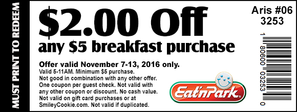 Eat N Park Coupon August 2018 $2 off $5 on breakfast at Eat n Park restaurants