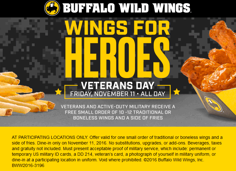 BuffaloWildWings.com Promo Coupon Veterans & military enjoy free wings & fries Friday at Buffalo Wild Wings