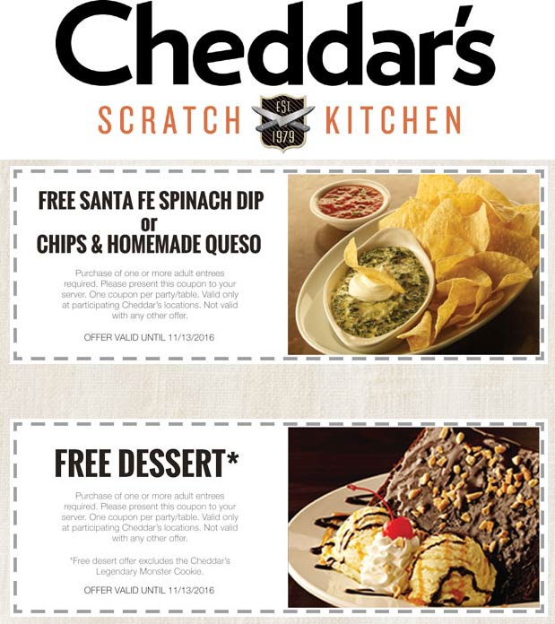 CheddarsScratchKitchen.com Promo Coupon Free queso or dessert with your entree at Cheddars Scratch Kitchen