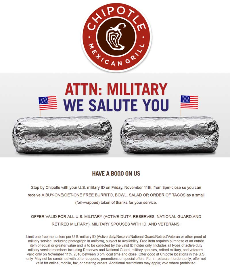 Chipotle.com Promo Coupon Military ID scores you a second burrito, bowl or salad free after 3p Friday at Chipotle