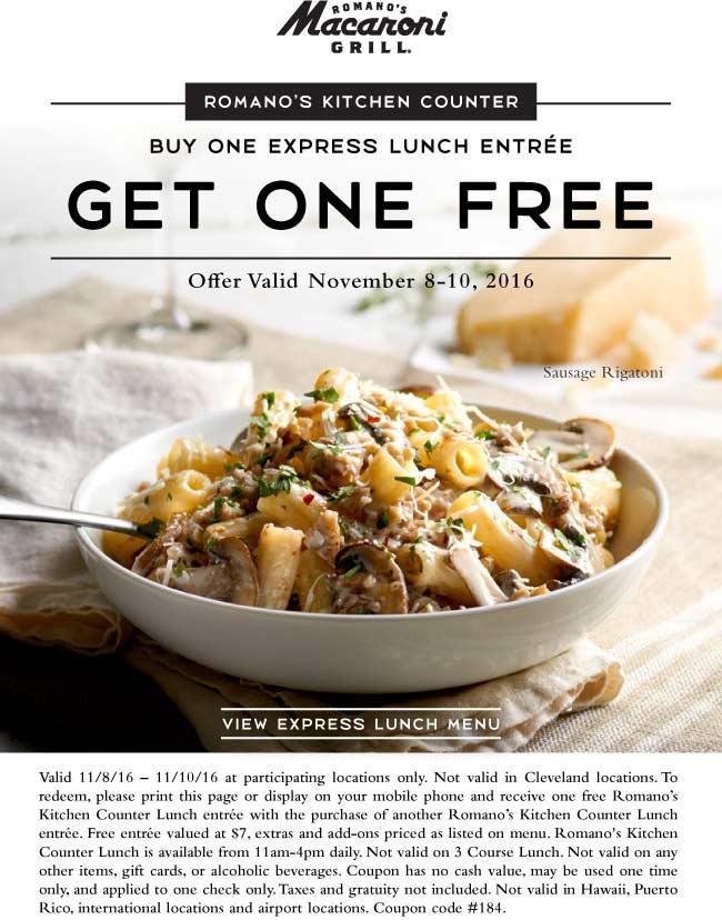 Romano's macaroni grill coupons