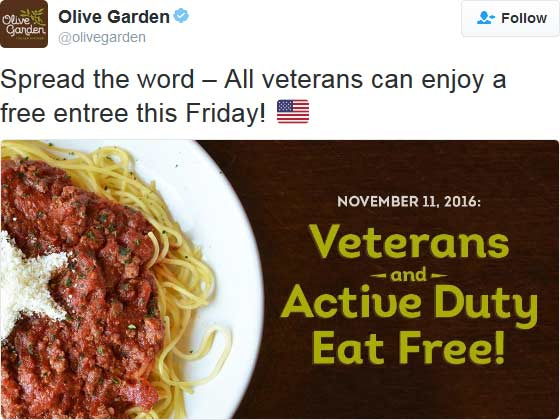 OliveGarden.com Promo Coupon Veterans enjoy a free entree Friday at Olive Garden