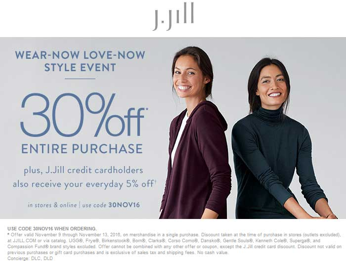 J.Jill.com Promo Coupon 30% off at J.Jill, or online via promo code 30NOV16