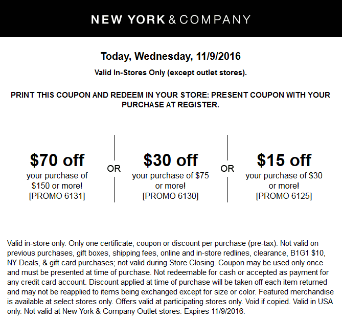 New York & Company Coupon October 2018 $15 off $30 & more today at New York & Company, or online via promo code 6125