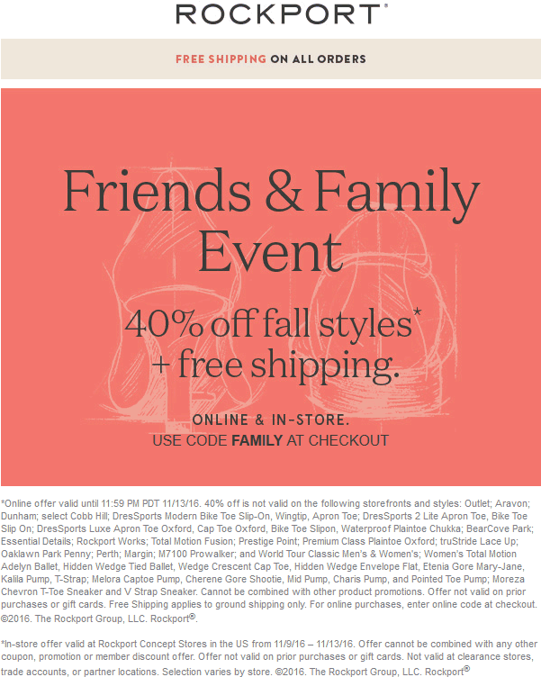 Rockport.com Promo Coupon 40% off fall styles at Rockport, or online via promo code FAMILY