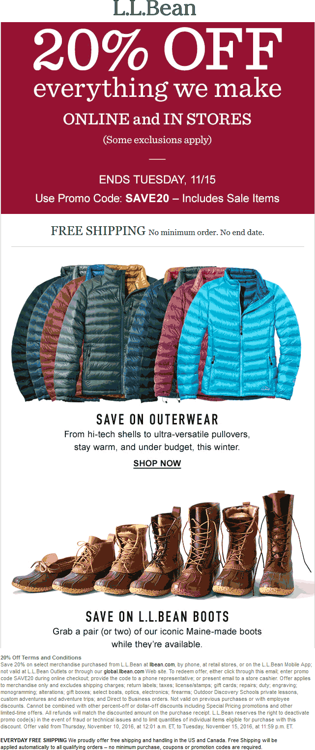 L.L.Bean Coupon August 2018 20% off everything at L.L.Bean, or online via promo code SAVE20
