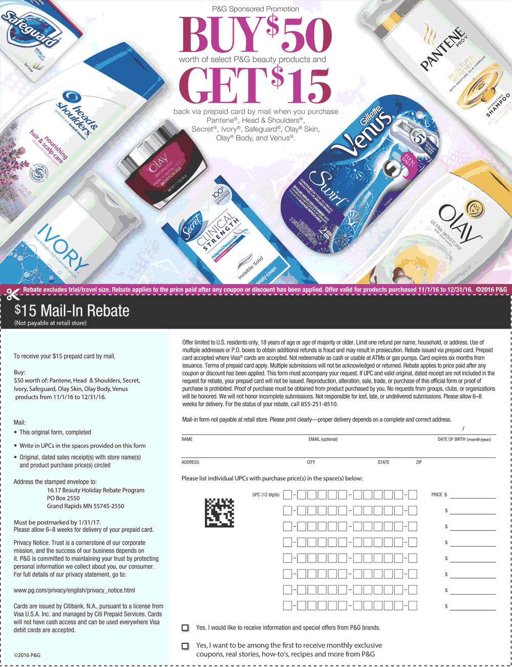 Rebate.com Promo Coupon $15 mail-in Rebate on $50 P&G products