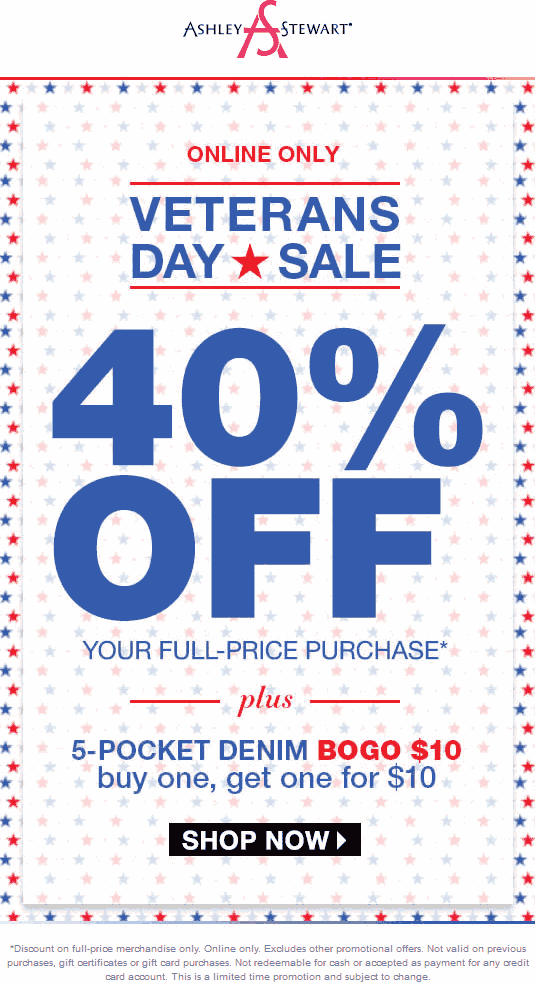 AshleyStewart.com Promo Coupon 40% off online today at Ashley Stewart