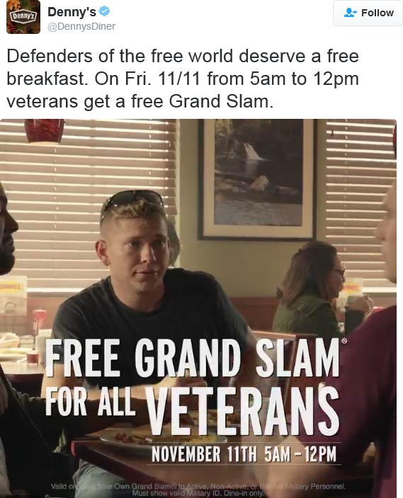 Dennys.com Promo Coupon Veterans enjoy a free grand slam breakfast today at Dennys
