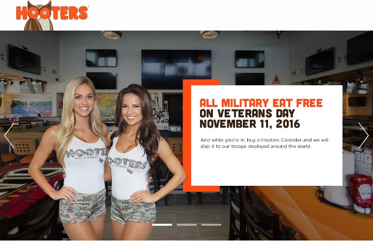 Hooters.com Promo Coupon Military & veterans eat free today at Hooters