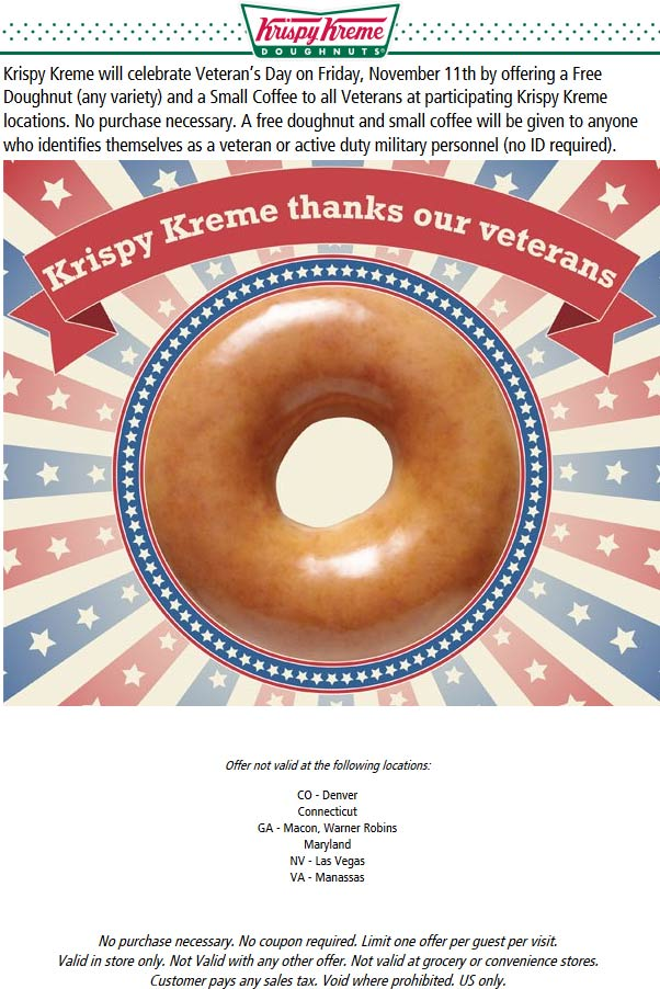 KrispyKreme.com Promo Coupon Veterans enjoy a free doughnut & coffee today at Krispy Kreme