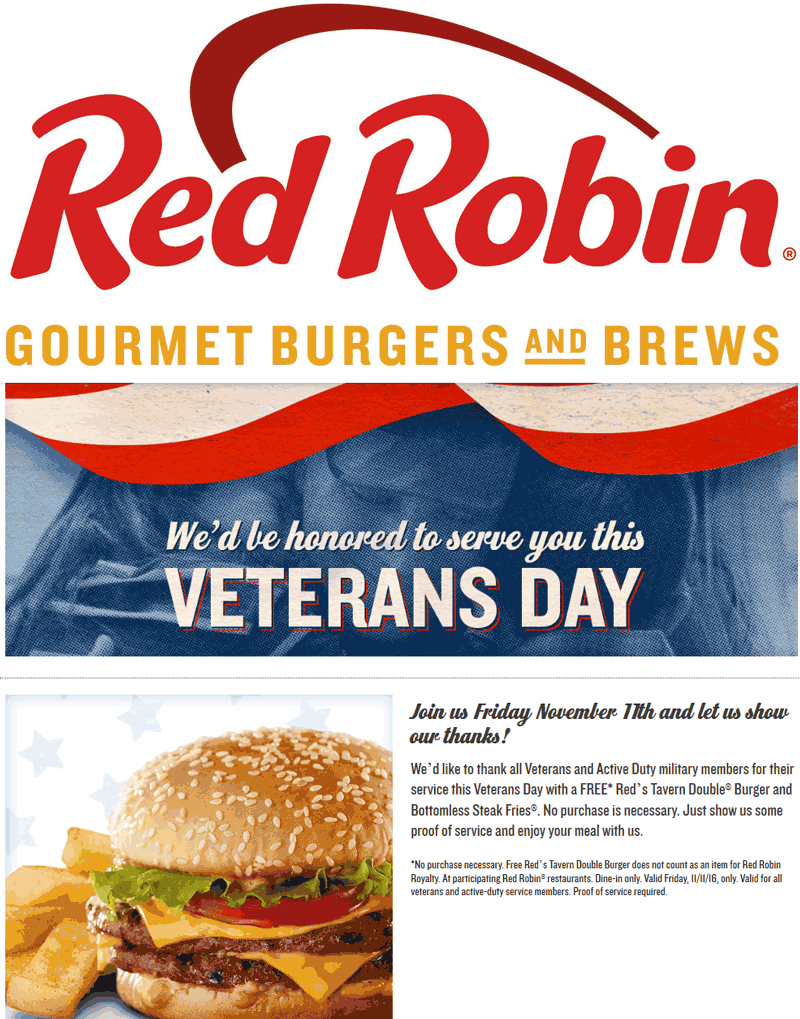RedRobin.com Promo Coupon Military enjoy a free double burger & bottomless fries today at Red Robin