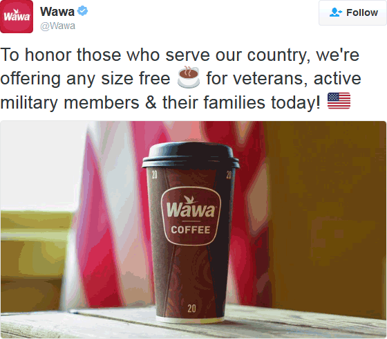GasStation.com Promo Coupon Free coffee for veterans & family today at Wawa gas stations