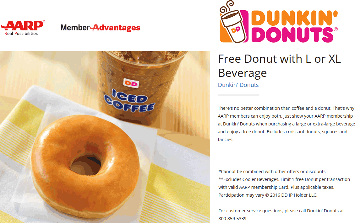 Dunkin Donuts Coupon March 2019 AARP members enjoy a free donut with your coffee at Dunkin Donuts