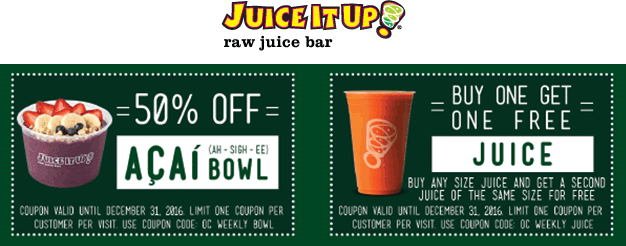 JuiceitUp.com Promo Coupon Second juice free & more at Juice It Up