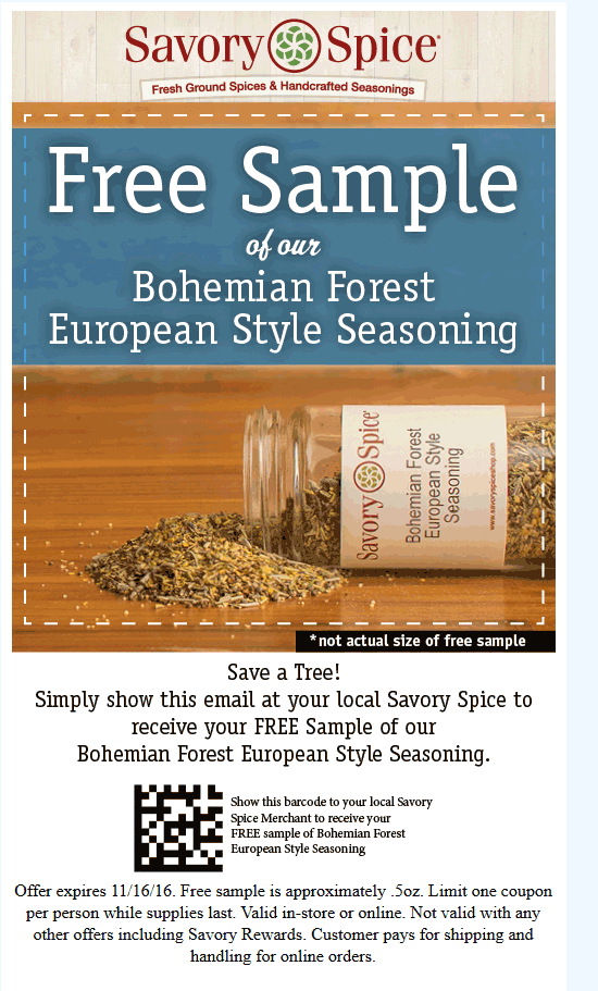 Savory Spice Coupon August 2018 European seasoning from Savory Spice