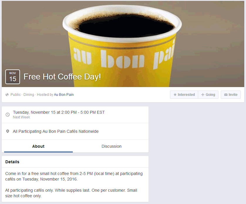 AuBonPain.com Promo Coupon Free coffee 2-5p Tuesday at Au Bon Pain restaurants