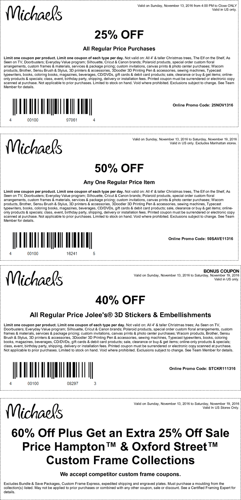Michaels Coupon December 2018 50% off a single item & more at Michaels, or online via promo code 50SAVE11316