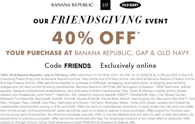 Old Navy Coupon October 2018 40% off online at Old Navy, Gap & Banana Republic via promo code FRIENDS