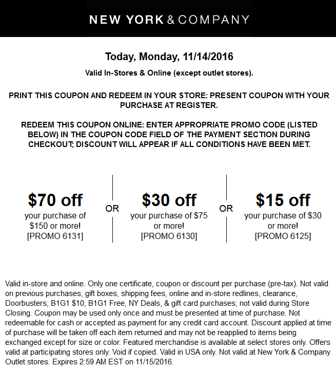 New york discount coupons