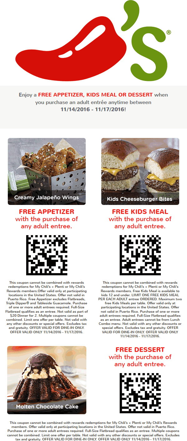 Chilis.com Promo Coupon Free appetizer, kids meal or dessert with your entree at Chilis