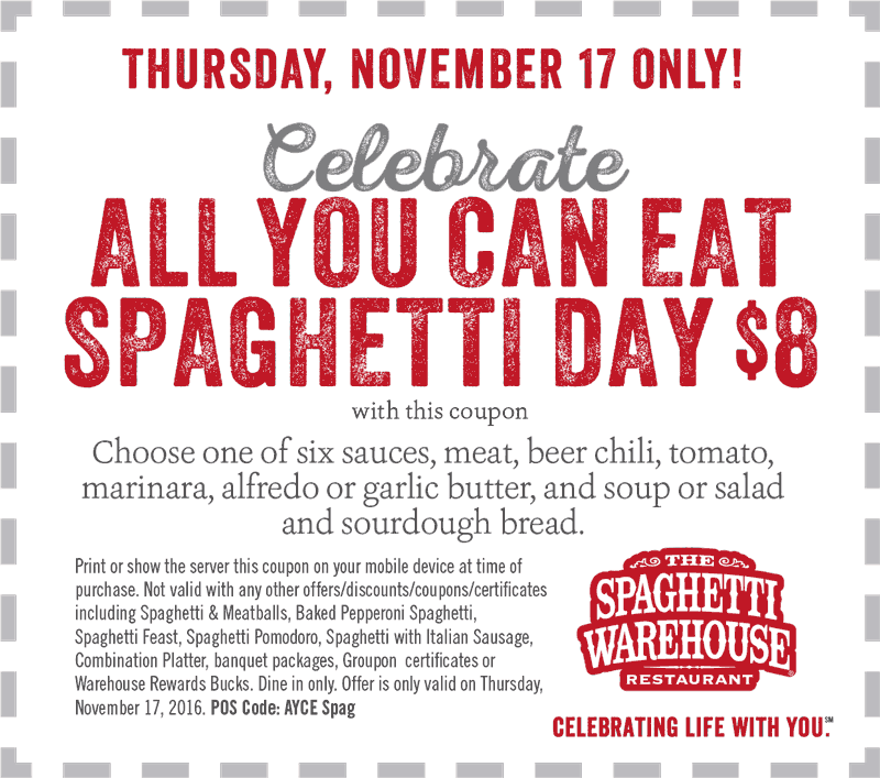 Spaghetti warehouse coupons printable 2018