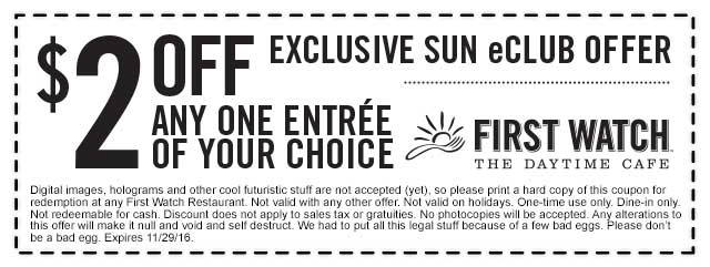 FirstWatch.com Promo Coupon $2 off any entree at First Watch cafe