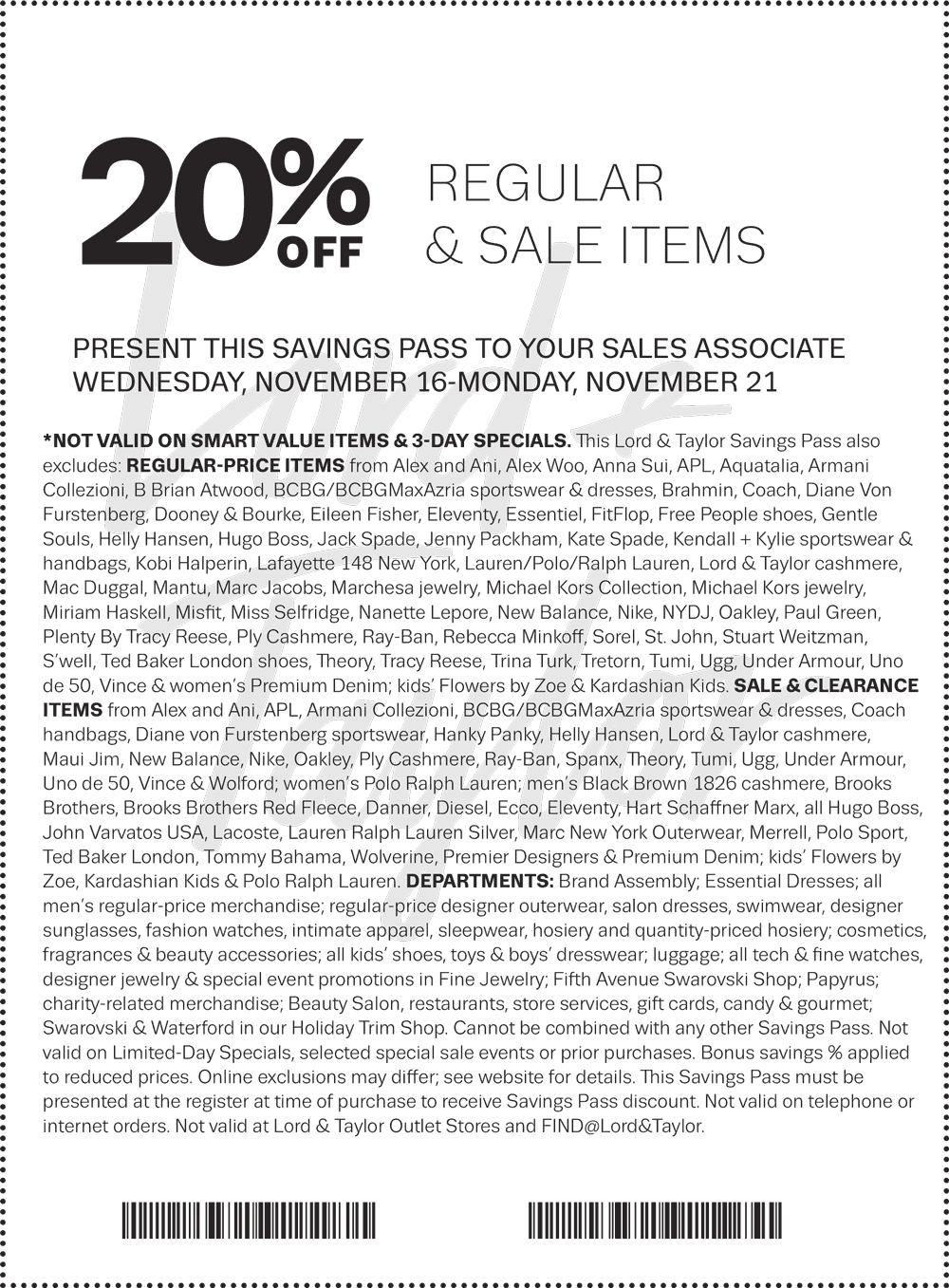 Lord&Taylor.com Promo Coupon 20% off regular & sale items at Lord & Taylor