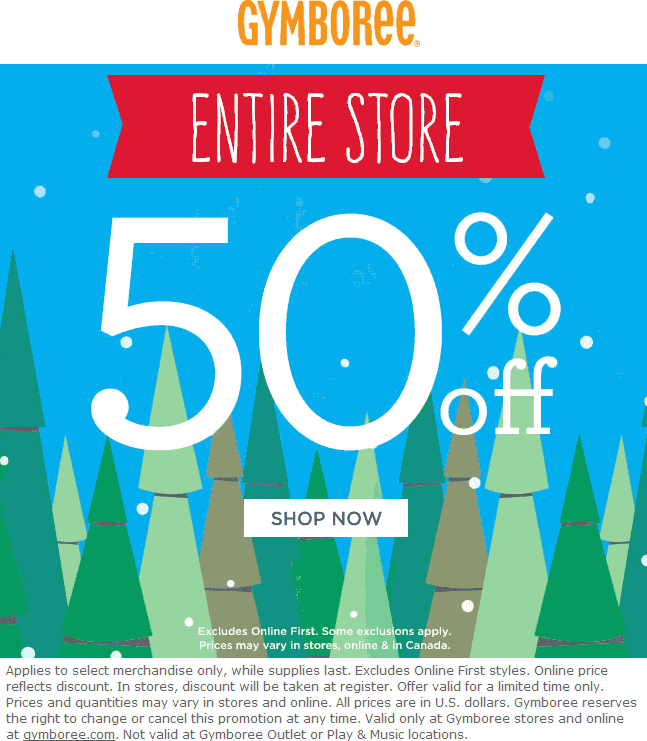 Gymboree.com Promo Coupon Everything is 50% off at Gymboree, ditto online