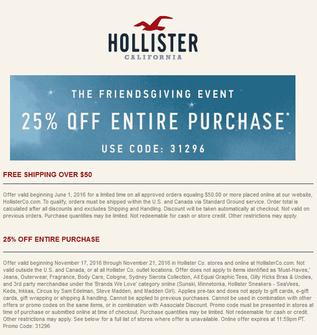 image about Hollister Printable Coupon named Hollister lower price discount coupons 2019