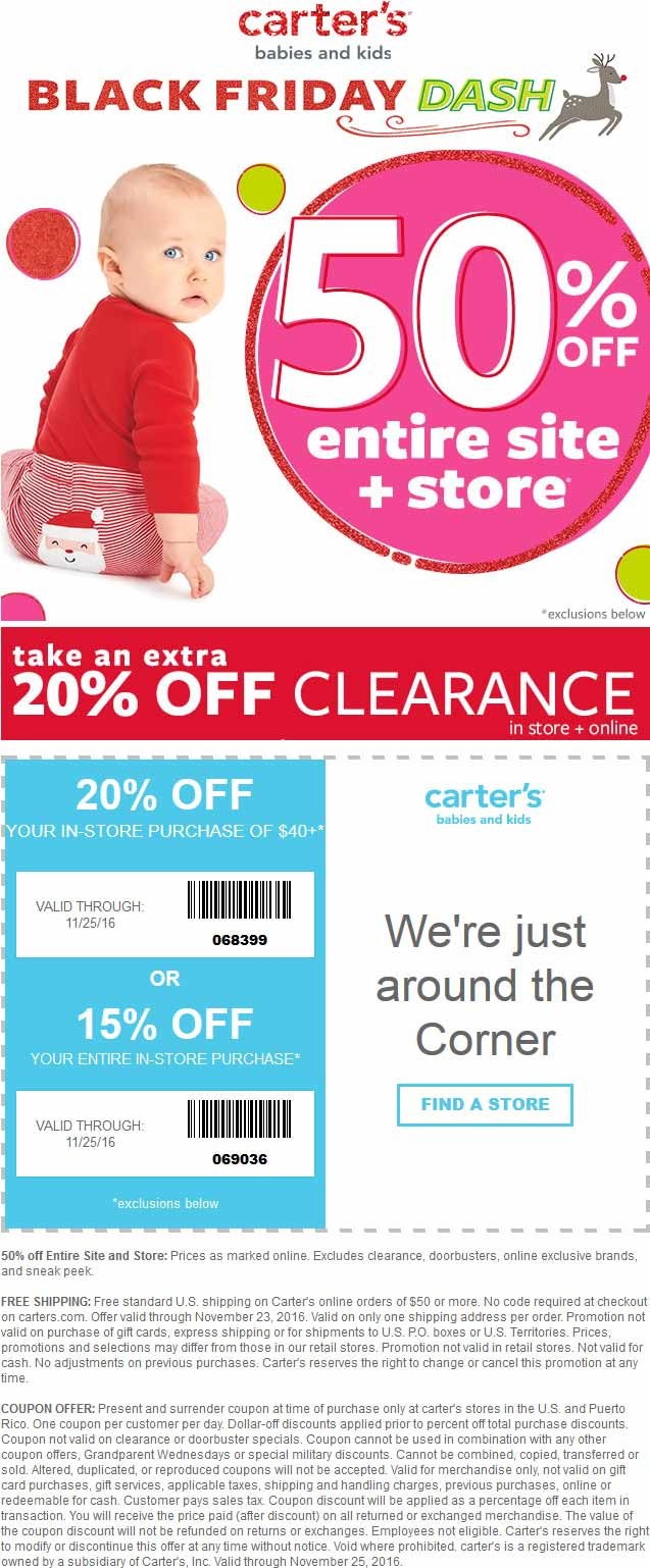 Carters Coupon August 2018 50% off everything + another 20% off $40 at Carters, ditto online