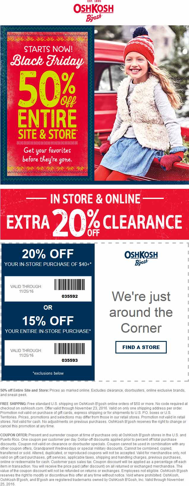 OshKoshBgosh.com Promo Coupon 50% off everything + another 15-20% at OshKosh Bgosh, ditto online