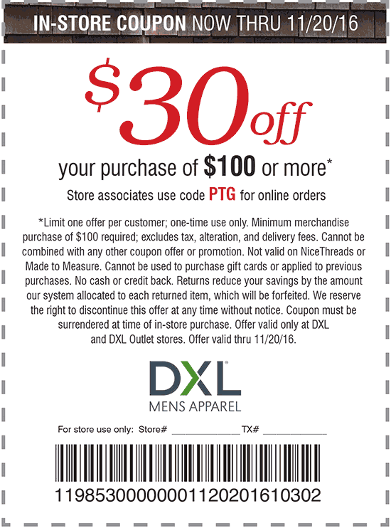 DestinationXL.com Promo Coupon $30 off $100 at Destination XL, or online via promo code PTG