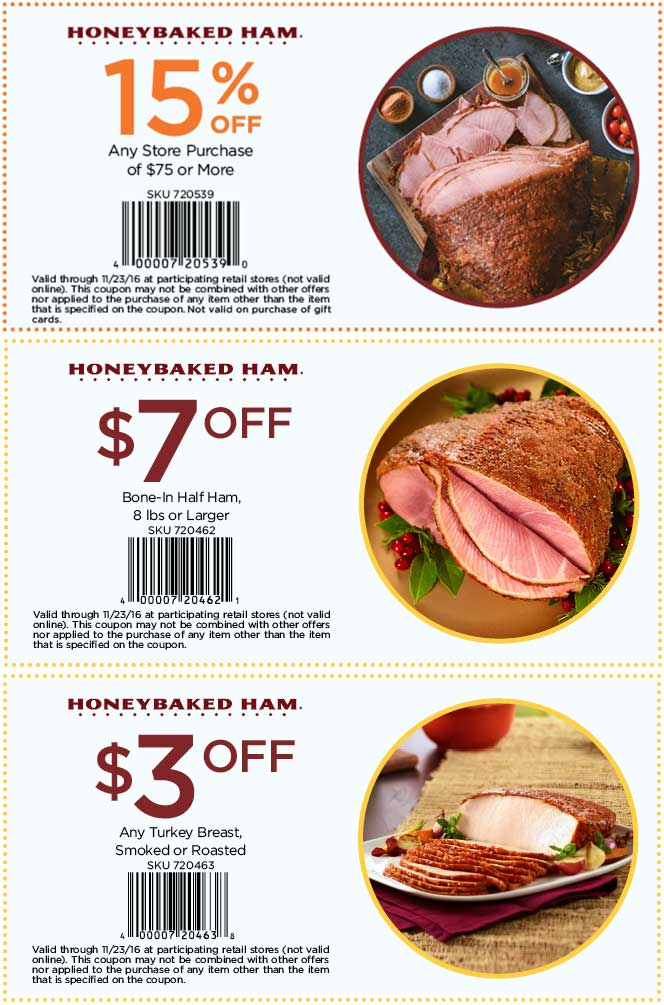 HoneyBaked.com Promo Coupon $3 off turkey & more at Honeybaked Ham restaurants