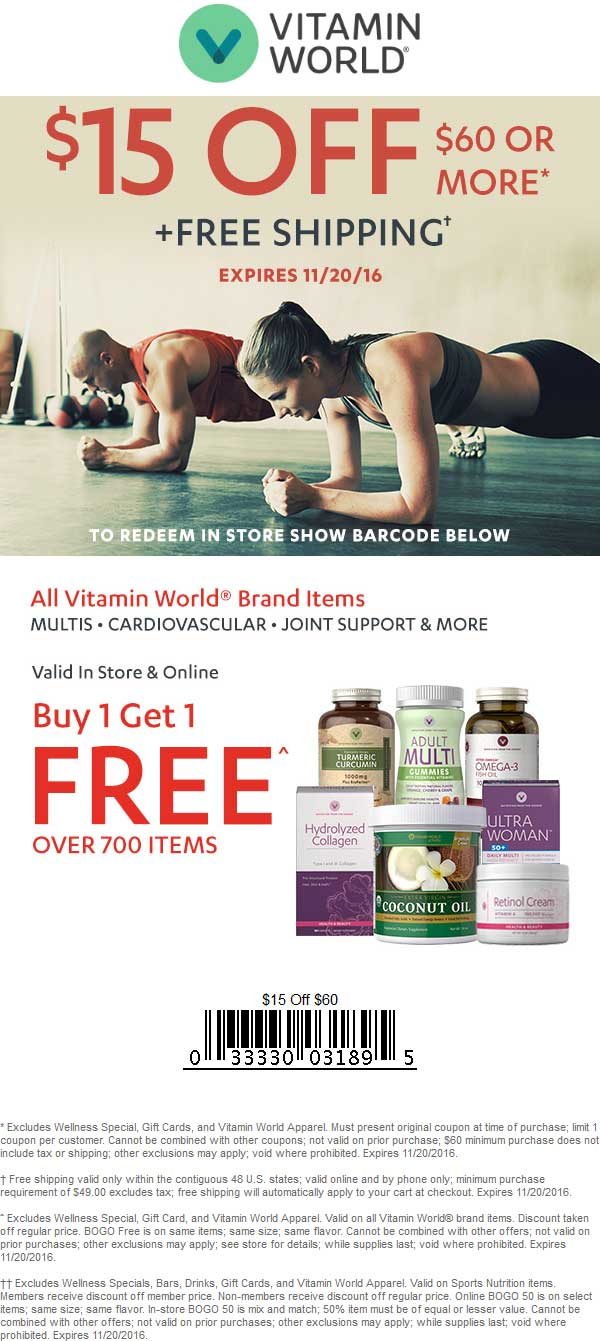 VitaminWorld.com Promo Coupon $15 off $60 & 2-for-1 on vitamins at Vitamin World, or online via promo code VE11A20