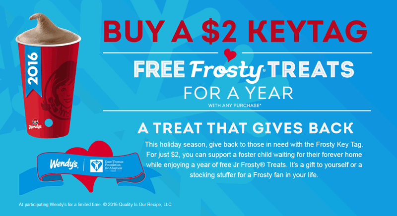 Wendys.com Promo Coupon $2 keytag gets free frosty treats all year at Wendys
