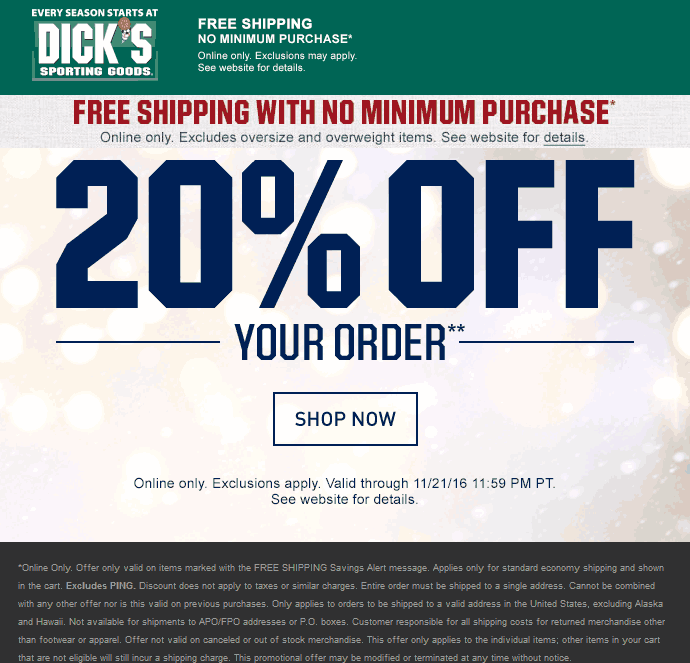 Dicks.com Promo Coupon 20% off online at Dicks sporting goods + free shipping no minimum
