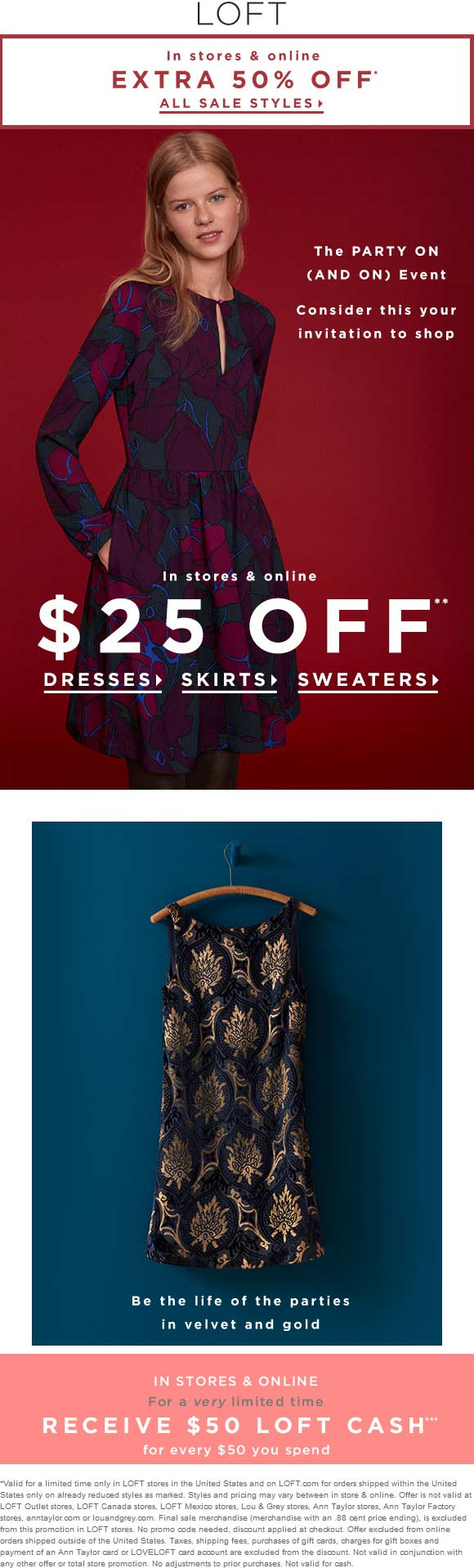 LOFT.com Promo Coupon Extra 50% off sale items at LOFT, ditto online - also $50 store cash on every $50 spent