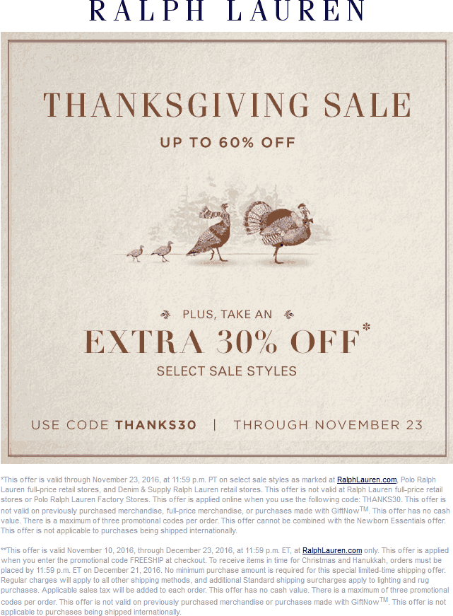 RalphLauren.com Promo Coupon Extra 30-60% off sale styles at Ralph Lauren, or online via promo code THANKS30