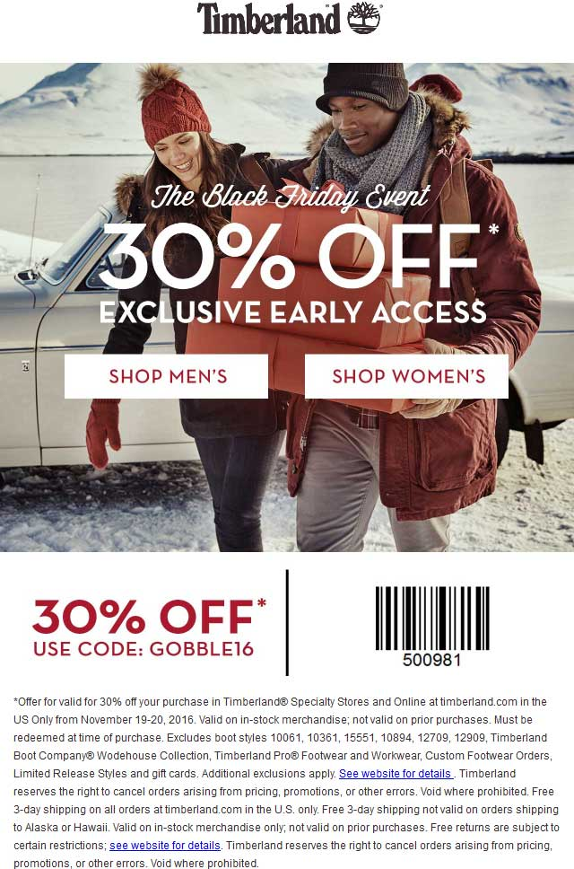 Timberland.com Promo Coupon 30% off today at Timberland, or online via promo code GOBBLE16