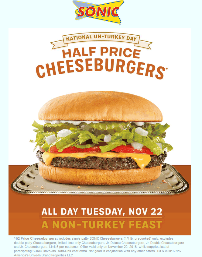 SonicDrive-in.com Promo Coupon 50% off cheeseburgers Tuesday at Sonic Drive-In