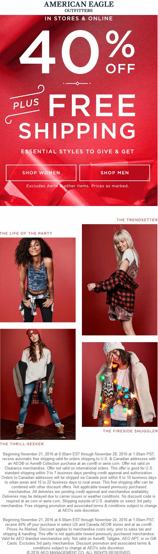 AmericanEagleOutfitters.com Promo Coupon 40% off at American Eagle Outfitters, ditto online
