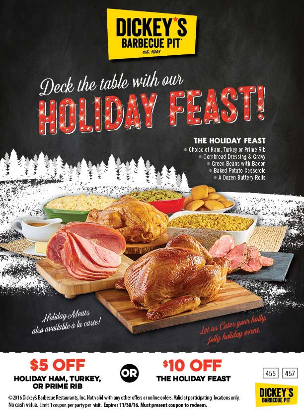DickeysBarbecuePit.com Promo Coupon $5-$10 off holiday feasts at Dickeys Barbecue Pit