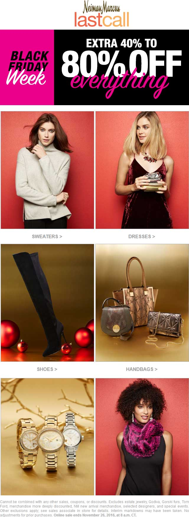 LastCall.com Promo Coupon Extra 40-80% off everything at Neiman Marcus Last Call, ditto online